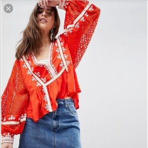 Free people boogie all night embroidered top